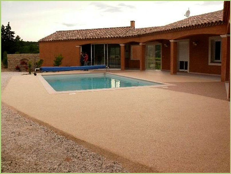 A large pool and beaches in light marble aggregate